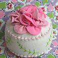 Bed of Roses Pincushion:  pink flowers on cream