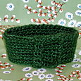 green mohair crocheted neckwarmer