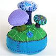 Pincushion:  Mushroom Forest Turquoise