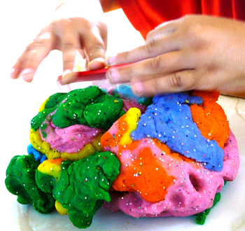 cooked homemade playdough with glitter