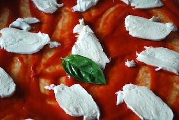 Italian pizza ready for oven