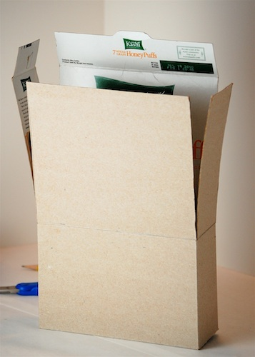 Bella Dia: Cereal Box House Tutorial on making house, cracker box house, waffle box house, cardboard box house,