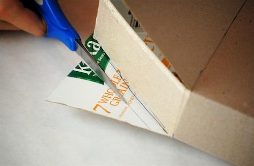 Bella Dia cereal box house cut glue flaps