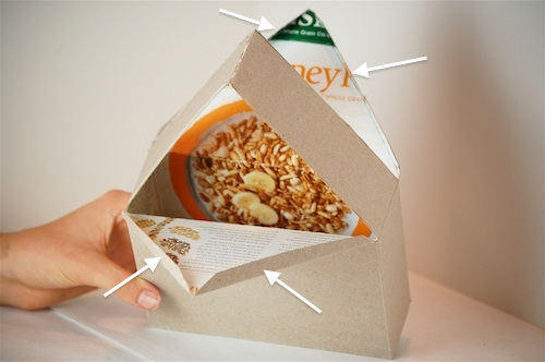 Bella Dia cereal box house fold flaps