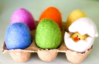 wet felted eggs