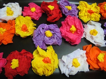 Busy Hands Busy Minds crepe paper flowers