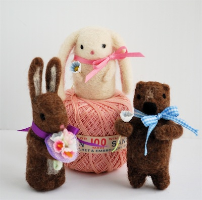 Bella Dia needle felted bunnies and a bear
