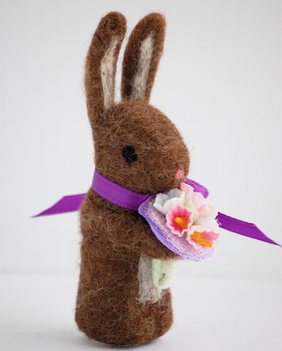 Bella Dia needle felted brown bunny with flower bouquet