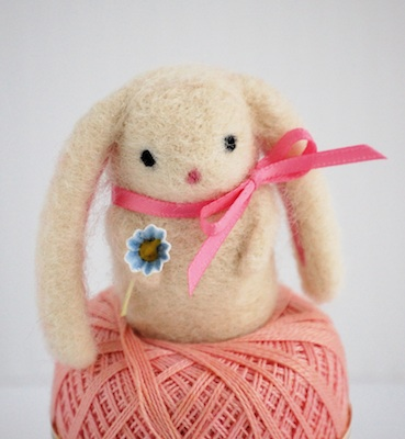 Bella Dia needle felted baby bunny with blue flower
