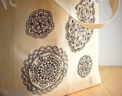 Mandala tote close up