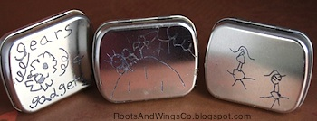 Roots And Wings crayon etching on metal tins