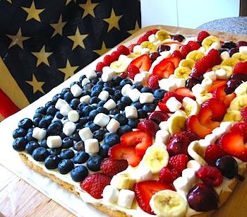Plum Pudding flag cookie pizza