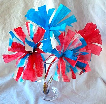 Crafts By Amanda red white blue filter flowers