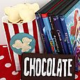 chocolate bar and box of popcorn