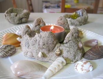 Squashed Tomatoes sandcastle candle