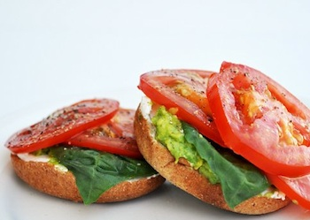 The Mother Huddle bagel tomato sandwich