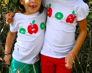 Twig And Toadstool apple print tees