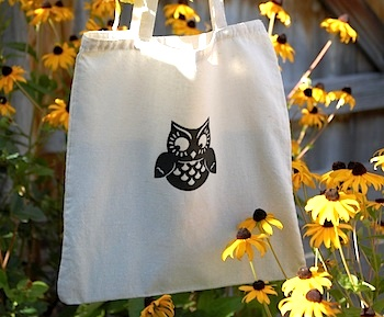 The Crafty Crow owl silhouette tote