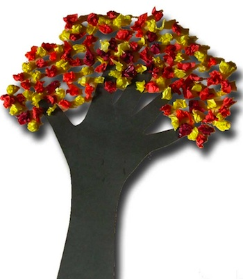 Paper Crafts For Children hand and scrunched tissue paper tree