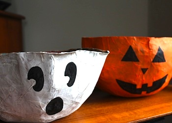 recycle paper bags into Halloween candy bowls