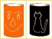 recycle tin cans into Halloween luminaries
