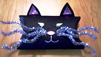 recycle a cardboard tube into a black cat favor box
