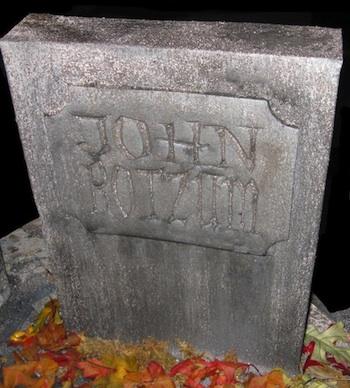 Dave Lowe Design cardboard box gravestone
