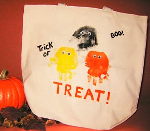 Family Education handprint trick-or-treat bag