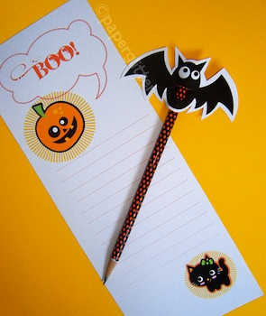 Paper Glitter halloween pencil topper and stationery