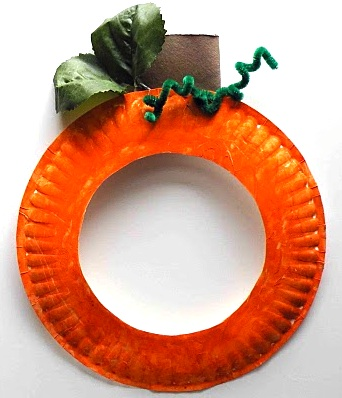 In Tin Mom Paper Plate Pumpkin Mask