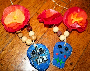 Moment To Moment salt dough skull necklace