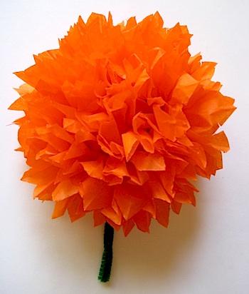 Teach Kids Art dia de los muertos paper marigold