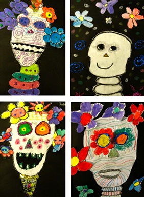 Deep Space Sparkle dia de los muertos art lesson
