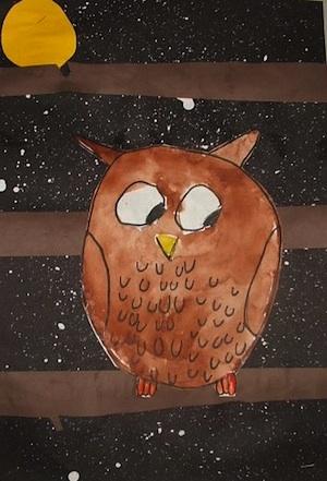 Thomas Elementary Art 1st grade owls