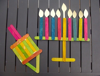Creative Jewish Mom popsicle stick menorah dreidel