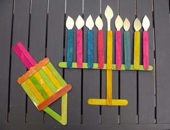 Creative Jewish Mom popsicle stick menorah dreidel
