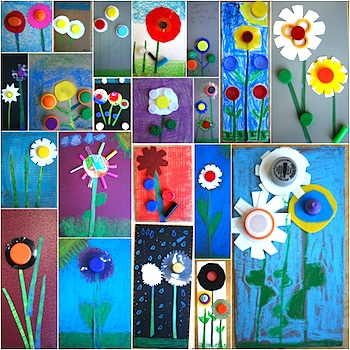 recycle plastic lid flower art