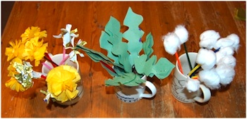 tissue paper dandelions craft