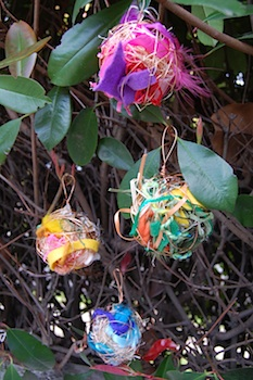 colorful bits to dress up a bird's nest