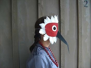 Absinthe and Orange bird mask