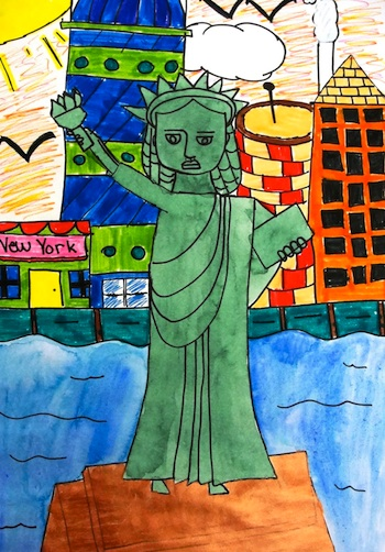 Deep Space Sparkle lady liberty art