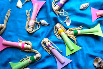 Paint Cut Paste mermaid peg dolls