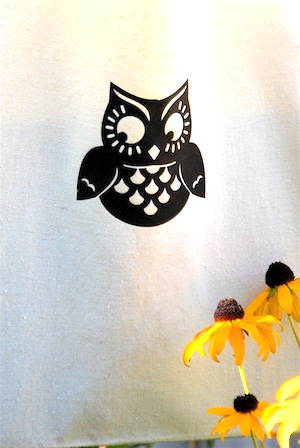 The Crafty Crow silhouette owl tote close up