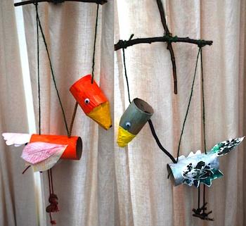 Red Ted Art tp tube bird marionette