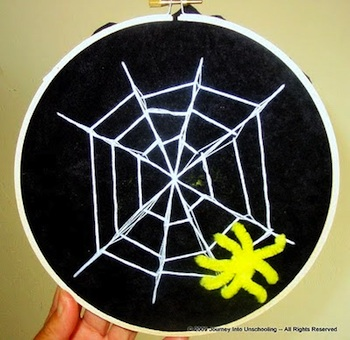 The Homeschool Classroom embroidered spider web