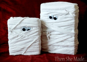 recycle small cardboard boxes into mummies - Recycled Halloween Decorations