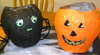 recycle newspaper into papier mache Halloween candy bowls