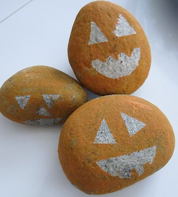 No Time For Flashcards painted rock jack o lantern