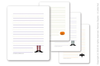 A Little Hut halloween note cards printable