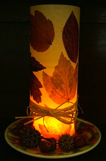 Patch O' Dirt Farm fall leaf votive lamp
